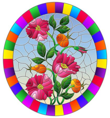 Illustration in stained glass style with flowers , berries and leaves of wild rose, oval image in bright frame