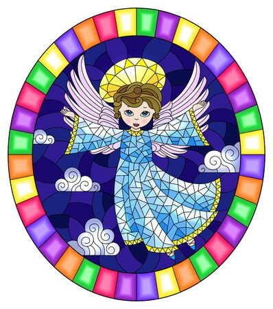 Illustration in stained glass style with cartoon  angel in blue dress against the cloudy sky,round image in bright frame