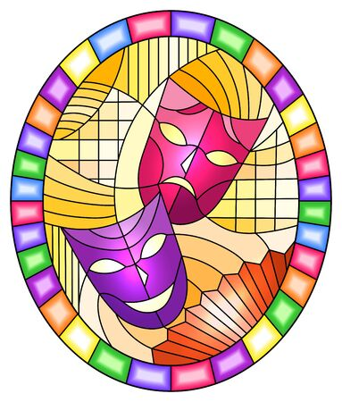 Illustration in stained glass style on the theme of carnival with abstract mask, oval image in bright frame