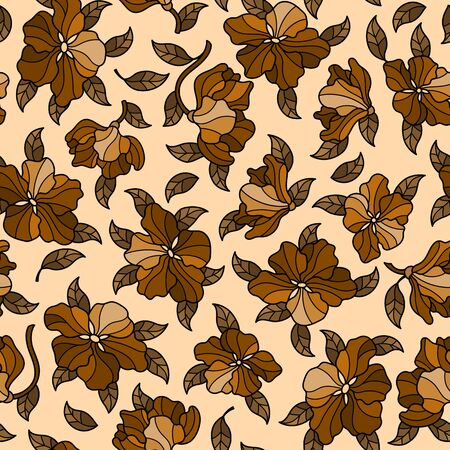 Seamless background with spring flowers in stained glass style, flowers, buds and leaves on a brown background