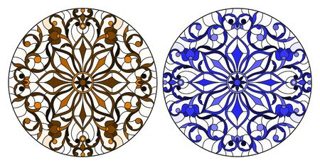 Set of illustrations in stained glass style with round floral arrangements, blue and brown Illustration