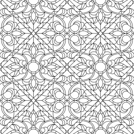 Seamless pattern in the style of a stained glass window with abstract contour floral ornament, dark outline on a light background