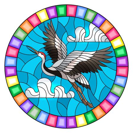 Illustration in stained glass style crane bird on the background of sky and clouds, round image in bright frame