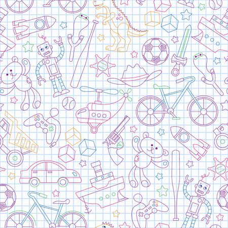 Seamless pattern on the theme of childhood and toys, toys for boys, colored outlines icons on contour  icons on the clean writing-book sheet in a cage  イラスト・ベクター素材