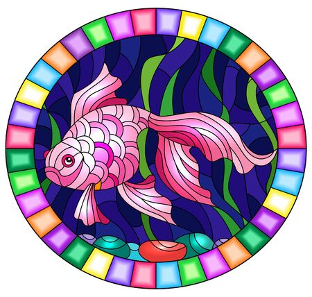 Illustration in stained glass style with bright pink  gold fish on the background of water  , round image in bright frame