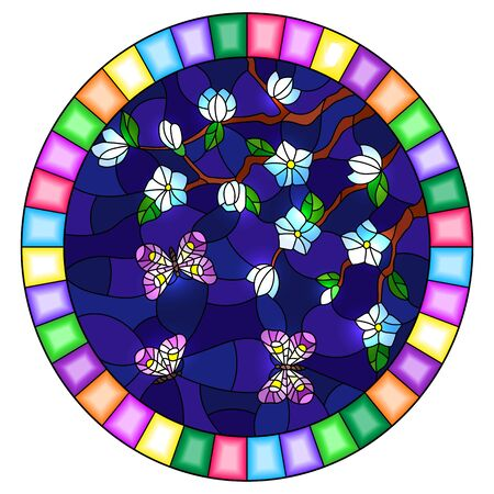 Illustration in stained glass style with cherry blossom tree and bright butterflies on blue night sky background, oval image in bright frame Иллюстрация
