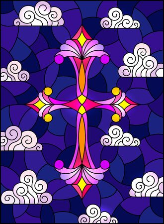 Illustration in stained glass style with bright cross on a background of blue night sky and clouds