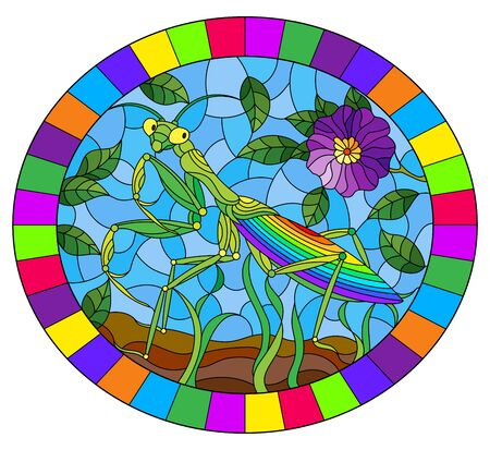 Illustration in stained glass style with green mantis and purple flower on grass and sky background, oval image in bright frame Иллюстрация