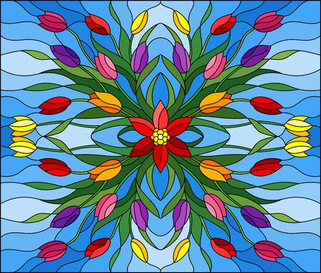 Illustration in stained glass style with floral arrangement, colorful tulips on a blue background