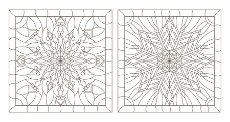 Set contour illustrations of stained glass with snowflakes in the framework of, square image
