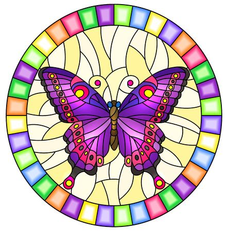 Illustration in stained glass style with bright purple  butterfly on a yellow background, oval picture  in a bright frame