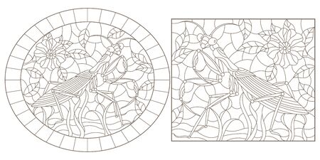Set of contour illustrations of stained glass with mantises and flowers, dark outlines on white background Иллюстрация