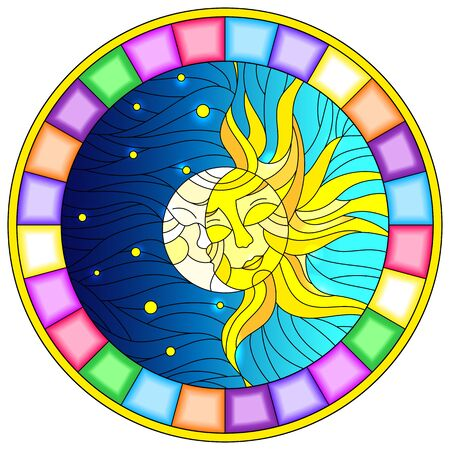 Illustration in stained glass style , abstract sun and moon in the sky,round image in bright frame