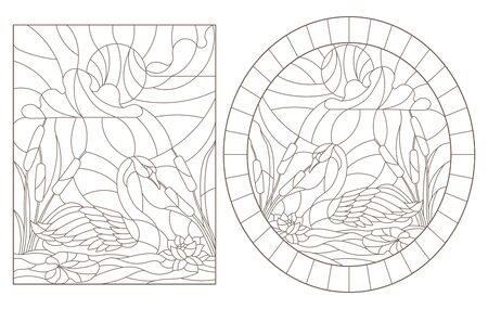 Set contour illustrations of stained glass with swans and lotuses on a pond on a background sky and sun 向量圖像
