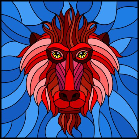 The illustration in stained glass style painting with a red monkeys head on bink background , rectangle image