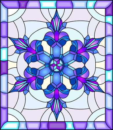 Illustration in stained glass style with snowflake in blue colors in a bright frame