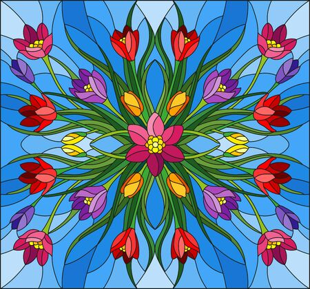 Illustration in stained glass style with floral arrangement, colorful Crocuses on a blue background