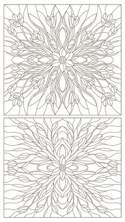 Set of contour illustrations of stained glass with floral arrangements of tulips and crocuses, dark contours on a white background Иллюстрация