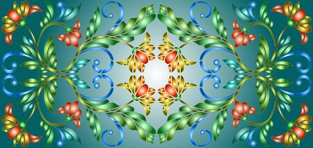 Illustration in stained glass style with abstract  swirls,flowers and leaves  on a cyan e background,horizontal orientation