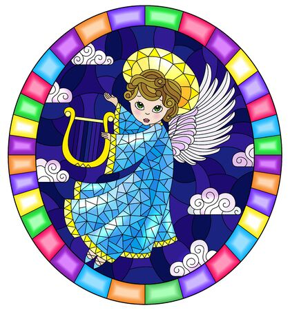 Illustration in stained glass style with cartoon in blue dress angel playing the harp against the cloudy night sky, round image in bright frame Ilustrace