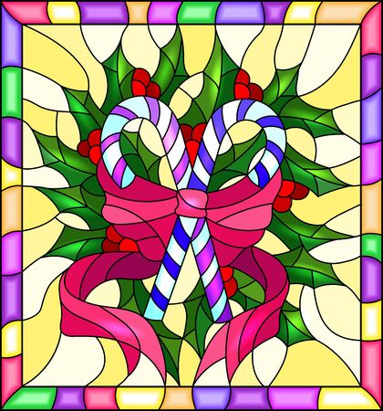 Illustration in stained glass style for New year and Christmas, striped candy, Holly branches and ribbons on a yellow background in a bright frame Vectores
