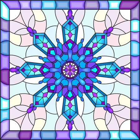 Illustration in stained glass style with snowflake in blue colors in a bright frame  向量圖像