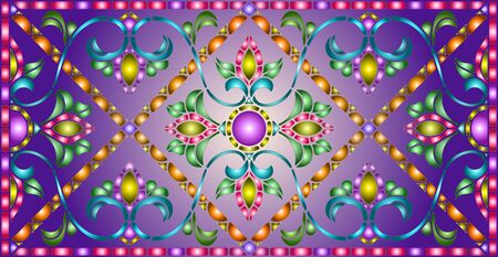 Illustration in stained glass style with abstract  swirls,flowers and leaves  on a purple background,horizontal orientation Иллюстрация