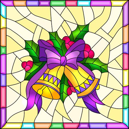 Illustration in stained glass style for New year and Christmas, bells, Holly branches and ribbons on a yellow background in a bright frame Illustration