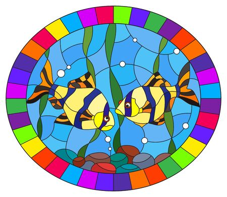 Illustration in stained glass style with a pair of barbs on the background of water and algae, oval image in bright frame Ilustracja