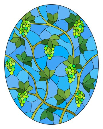 The illustration in stained glass style painting with a bunches of green grapes and leaves on blue background, oval image