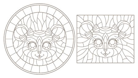 Set of contour illustrations of stained glass Windows with cartoon mouse heads, dark outlines on white background