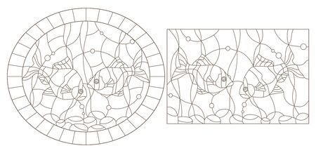 Set contour illustrations of stained glass with aquarium fish, dark outlines on white background Ilustracja