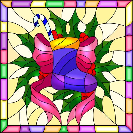 Illustration in stained glass style for New year and Christmas, sock with gifts and sweets, Holly branches and ribbons on a yellow background in a bright frame