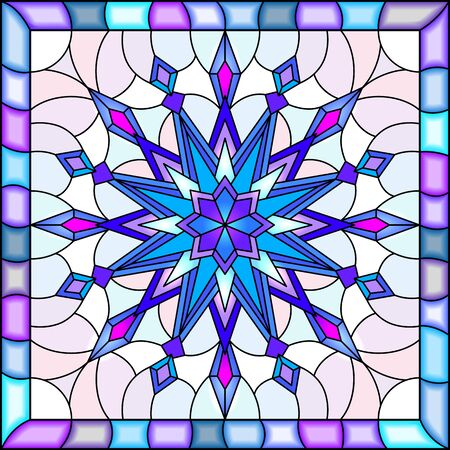 Illustration in stained glass style with snowflake in blue colors in a bright frame  Illustration