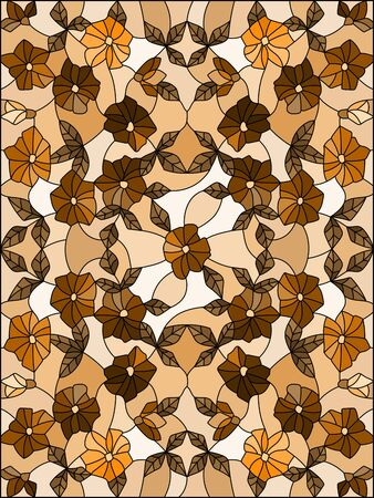 Illustration in stained glass style with a  intertwined flowers on a light background, tone brown