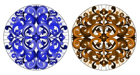 Set of illustrations in stained glass style with round floral arrangements, blue and brown Иллюстрация