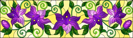 llustration in stained glass style with flowers, leaves and buds of purple lilies on a yellow background Illustration