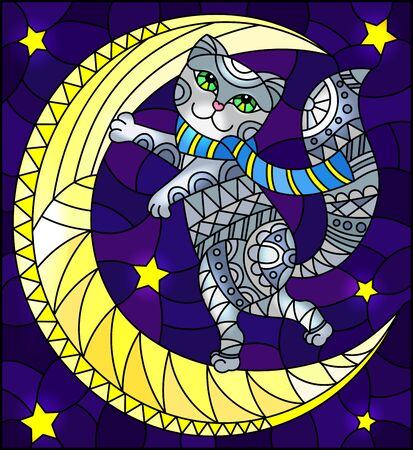 Illustration in stained glass style with fabulous grey kitten  on the moon on a starry sky background