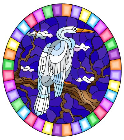 Illustration in stained glass style with a white  Heron bird sitting on a tree on a background of swamp and sky, oval image in bright frame