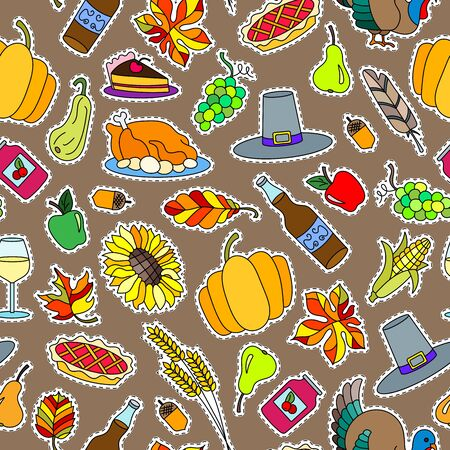 Seamless pattern for holiday Thanksgiving day, a simple hand-drawn coloured patches on a brown background