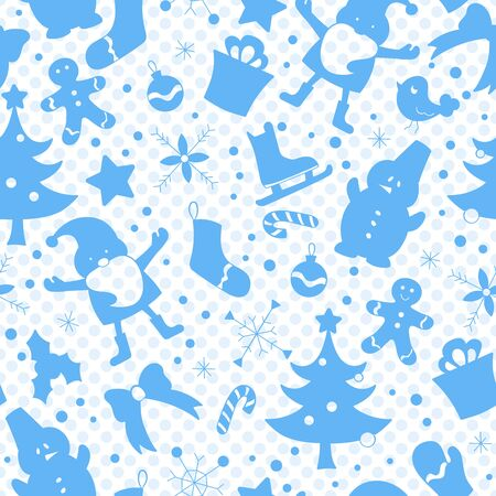 Seamless pattern on the theme of New year and Christmas, simple blue silhouettes icons on a blue background polka dot