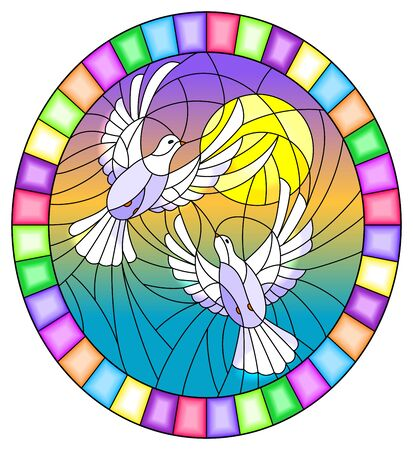 Illustration in stained glass style with a pair of white doves on the background of the daytime sky , oval picture in a bright frame Çizim