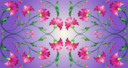 Illustration in stained glass style with abstract pink flowers on a purple  background,horizontal orientation Illustration