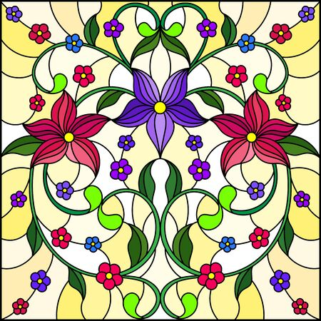 Illustration in stained glass style with abstract floral ornaments, flowers, leaves and curls on yellow background, square image Иллюстрация