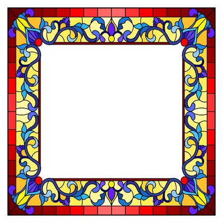 Illustration in stained glass style flower frame, bright flowers and  leaves in red  frame on a white background
