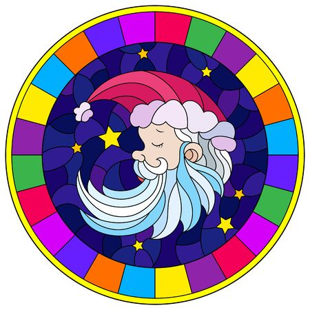 Illustration in stained glass style with a portrait of Santa Claus on the background of the night starry sky, round image in bright frame