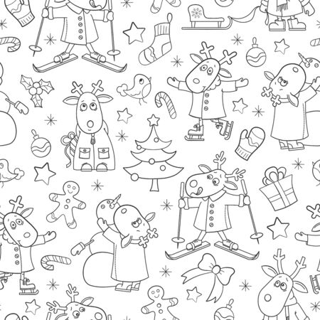 Seamless pattern for the new year and Christmas, funny cartoon moose for winter entertainment, contour  animals on a white background
