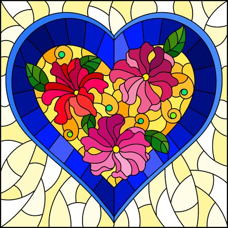 Illustration in stained glass style with bright blue heart and pink flowers on yellow background