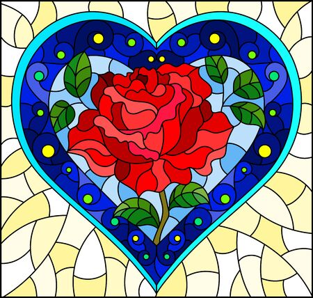 Illustration in stained glass style with bright blue heart and red rose flower on yellow background Illustration