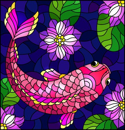 Illustration in stained glass style with a pink fish on a background of purple lotuses and water